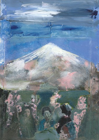 Women Holding Cherry Blossoms Below Mt. Fuji