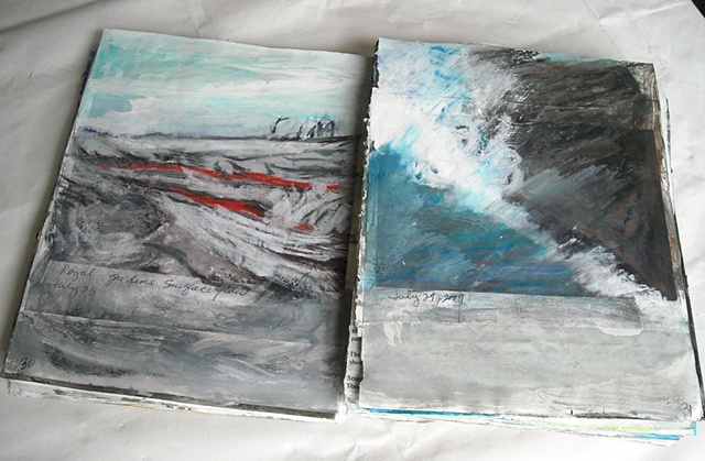 Kilauea Volcano Journal-update pages -painted into photos