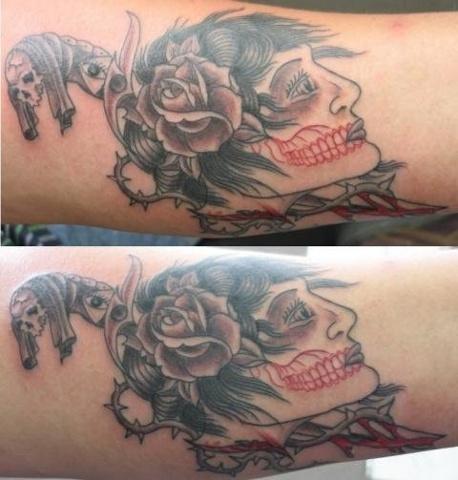 Peter McLeod Tattoo Gypsy girl knife dagger traditional tattoo