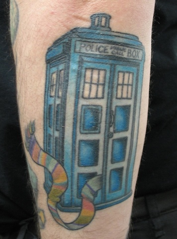 Peter McLeod Tattoo Traditional Doctor Who Tardis Tom Baker Scarf Tattoo