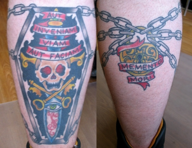 Peter McLeod Tattoo Tradtional Coffin Memento Mori tattoo