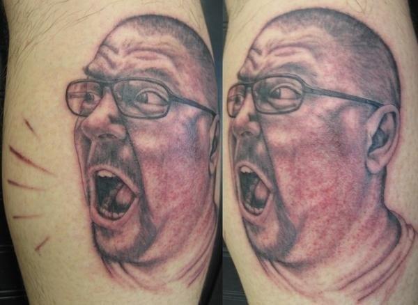 Peter McLeod Tattoo Grumpy man yelling portrait tattoo