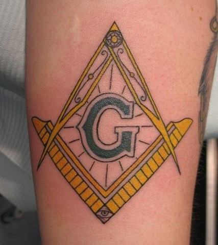 Peter McLeod Tattoo square and compass Freemason tattoo