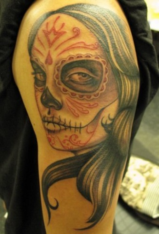 Peter McLeod Tattoo day of the dead girl face tattoo