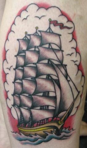 Peter McLeod Tattoo Traditional tall ship sail boat clipper ship tattoo