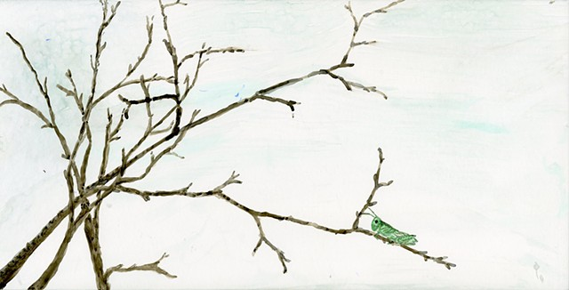 Grasshopper on branch watercolor on board
