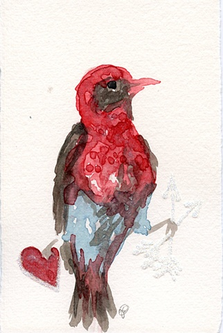 bird hand painted watercolor card