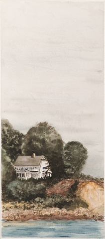 watercolor of family lakehouse
