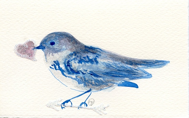 blue bird with heart