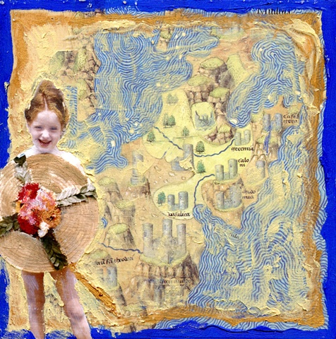 mixed media on wood with vintage photo & found map