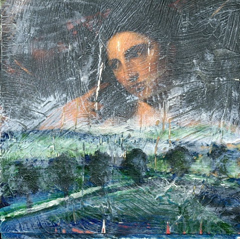 oil on wood with mixed media