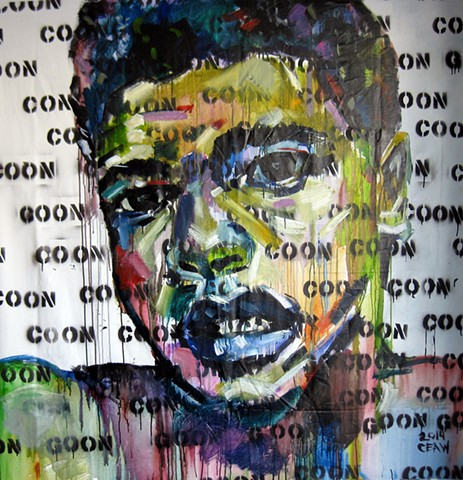 ali, muhammad, boxer, boxing, art, artist, congo, coon, nigger, fighter, muslim, american, war, draft, painter, artist, love, art, atlanta, new orleans, selfie, canvas, acrylic, con, goon, label, greatest, goat, champion