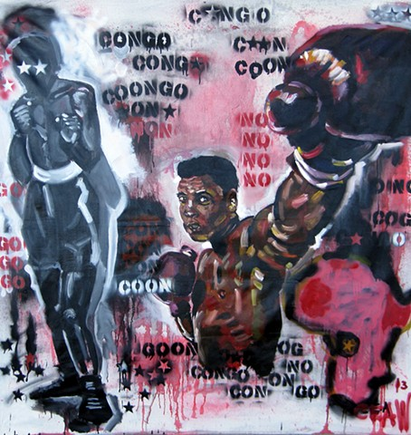keep, fighting, ali, Muhammad, boxing, fight, rumble in the jungle, painter, painting, art, artist, Floyd mayweather, heavy weight,