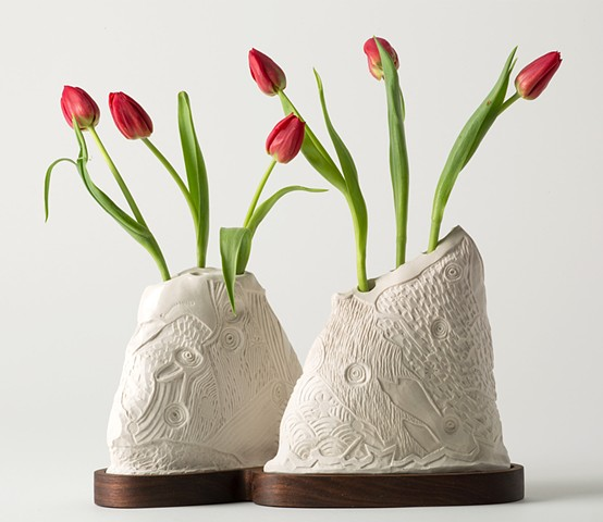 Two Vases with Cherry Island