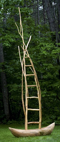 Wood sculpture of ladder and boat by Lin Lisberger