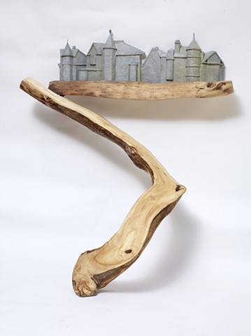 Carved and constructed wood sculpture about a Portland, Maine walk by Lin Lisberger