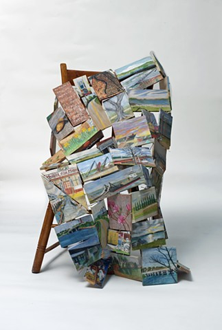 Wood sculpture with drawings about walks in Portland, Maine by Lin Lisberger in response to COVIC 19 quarantine