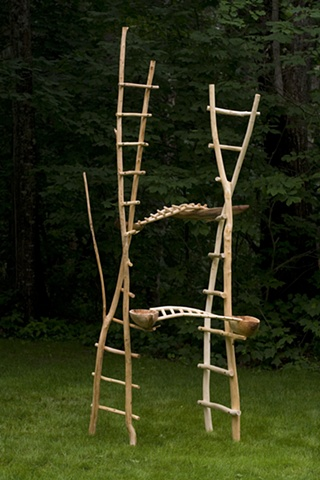 Wood sculpture of ladders, boats and bridges by Lin Lisberger