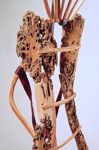 Wood sculpture about dealing with breast cancer by Lin Lisberger