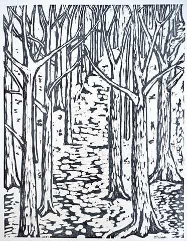 Woodblock print by Lin Lisberger about woods in Maine