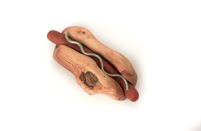 Carved wood sandwich sculptures by Lin Lisberger