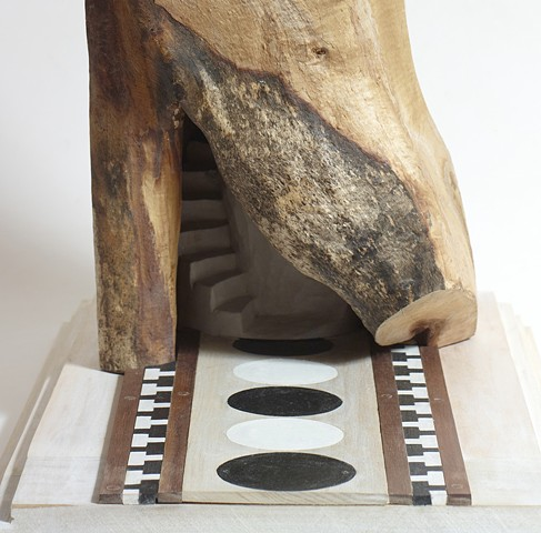 Detail of wood sculpture by Lin Lisberger about climbing into the dome in Florence's cathedral