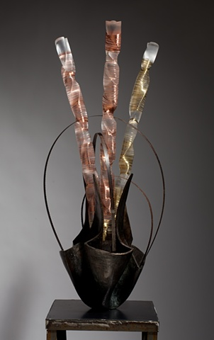 Bronze and carved plexiglass sculpture sculpture inspired by guitar solos by Lin Lisberger