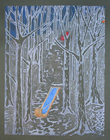 Woodblock print with collage and colored pencil by Lin Lisberger about sledding