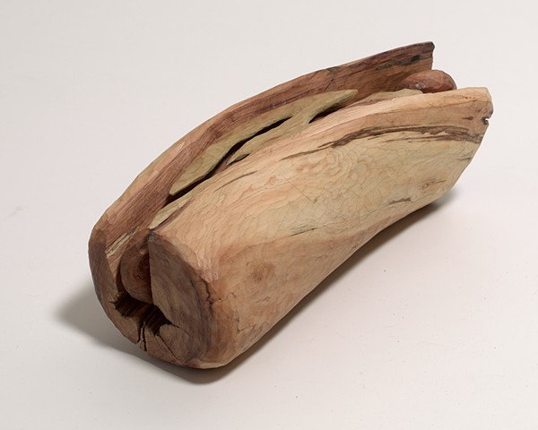 Carved and constructed wood sandwich sculpture by Lin Lisberger