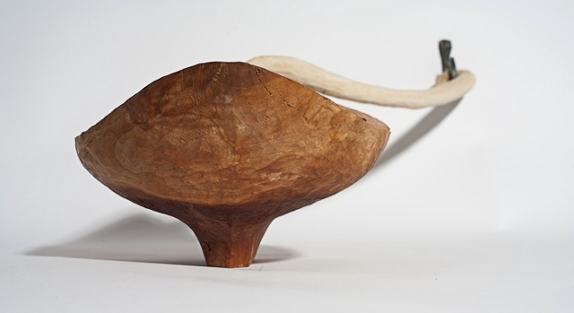 Wood sculpture of boat and carved rope by Lin Lisberger