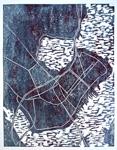 Woodblock print by Lin Lisberger of Portland, Maine map