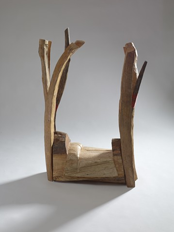 Carved wood sculpture referencing a W.S. Merwin poem by Lin Lisberger