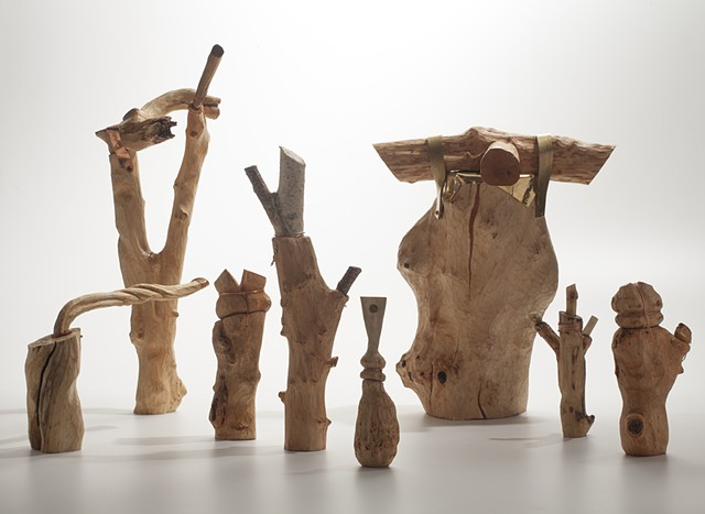 Carved wood vessel sculptures by Lin Lisberger