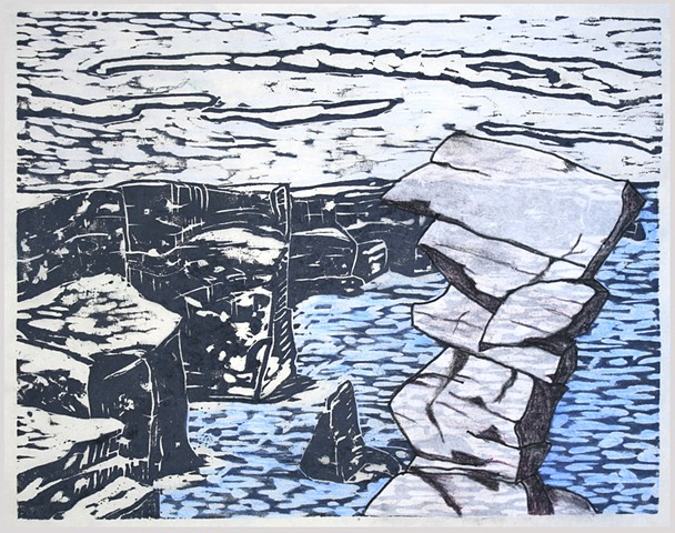 Woodblock print with collage and drawing by Lin Lisberger about The Cliffs of Moher in Ireland