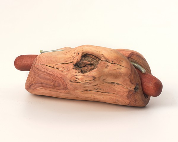 Carved wood sandwich sculpture by Lin Lisberger