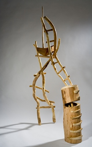 Wood sculpture of ladders by Lin Lisberger