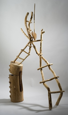 Wood sculpture with ladders by Lin Lisberger