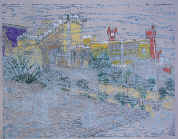 Woodblock print with colored pencil by Lin Lisberger about Pena Castle in Portugal