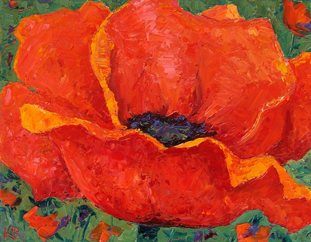 One red poppy in a garden