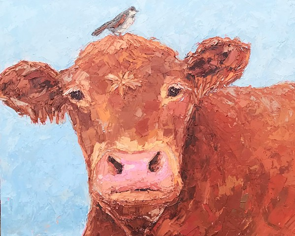 Brown cow with bird on his head