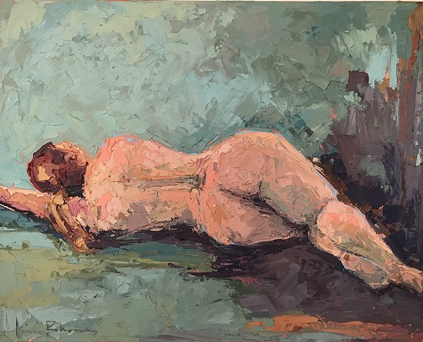 Female figure in oil and Wax, painted a with a knofe