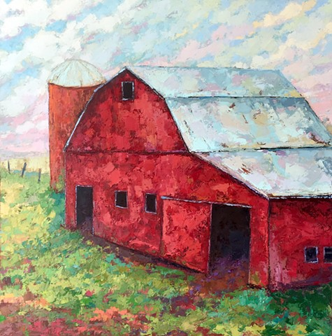 Red barn landscape with an orange silo