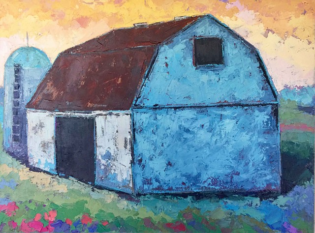 White Barn Evening Sky - SOLD