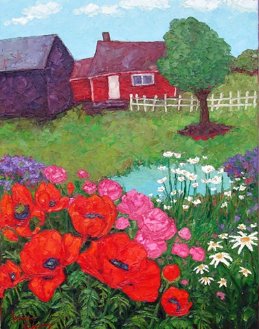 Farm scene with poppy patch