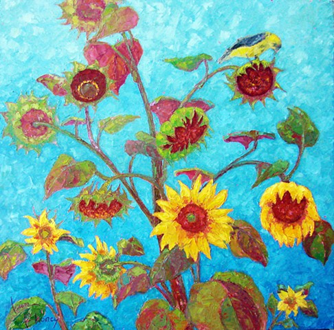 Sunflowers with bird print