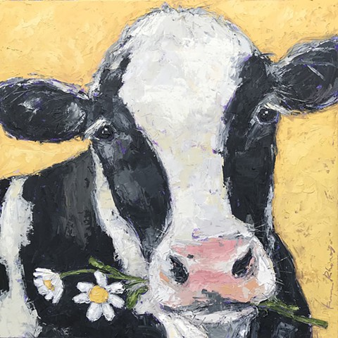Black and white cow on yellow with daisies
