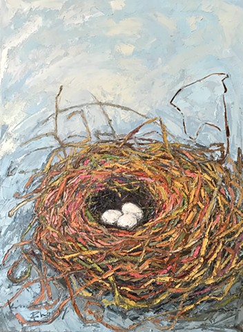 Bird nest art, neutrals and blue