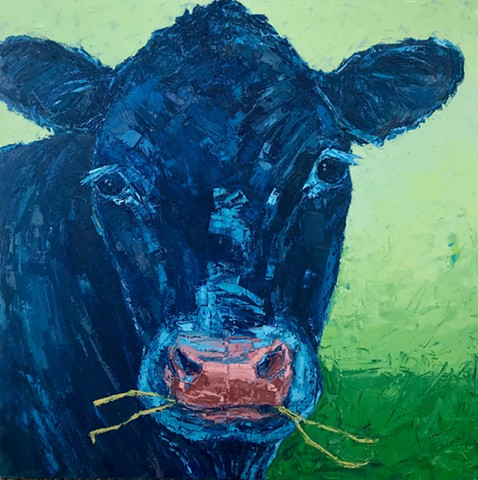"Mary Temple Grandin - blue cow, 36"" x 36"" original"