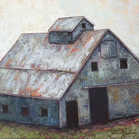 Blue barn as center