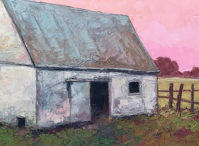 White Barn painting, oil painting original art